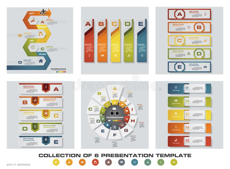 Collection of 6 design colorful presentation templates. EPS10. Set of infographics design vector and business icons. royalty free illustration