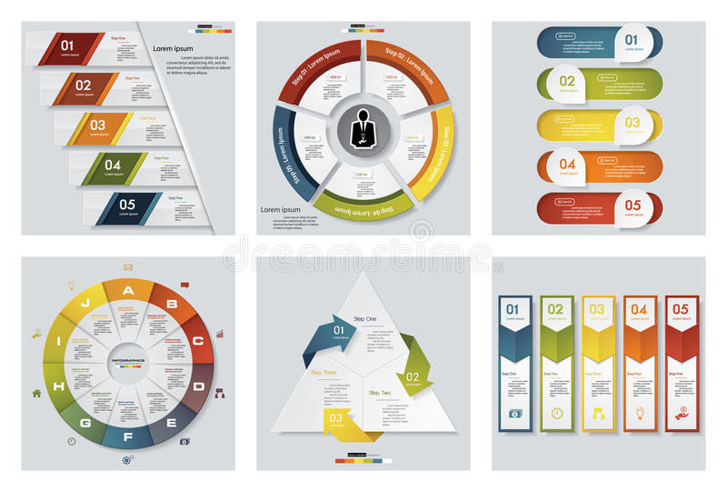 Collection of 6 design colorful presentation templates. Vector Background. royalty free illustration