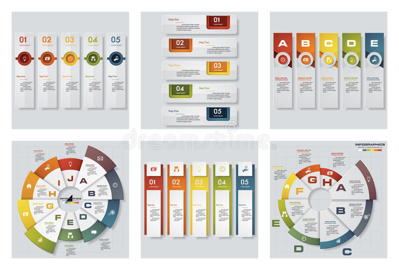 Collection of 6 design colorful presentation templates. Vector Background. stock illustration