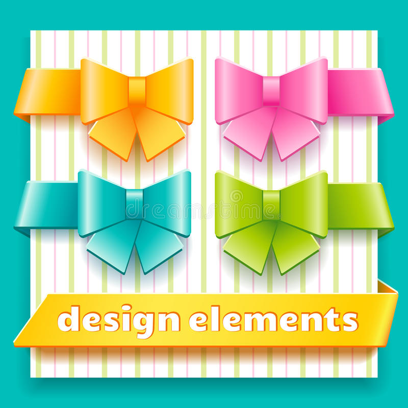 Collection of design elements for decoration child. Collection of bright design elements such as frames, ribbons and bows for decoration child theme stock illustration