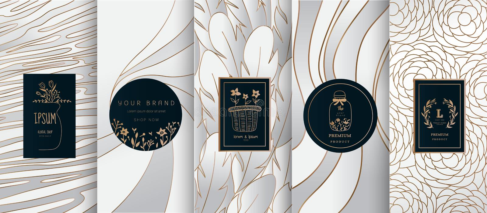Collection of design elements,labels,icon,frames, for logo,packaging,design of luxury products.for perfume,soap,wine, lotion. Made with Isolated on black stock illustration