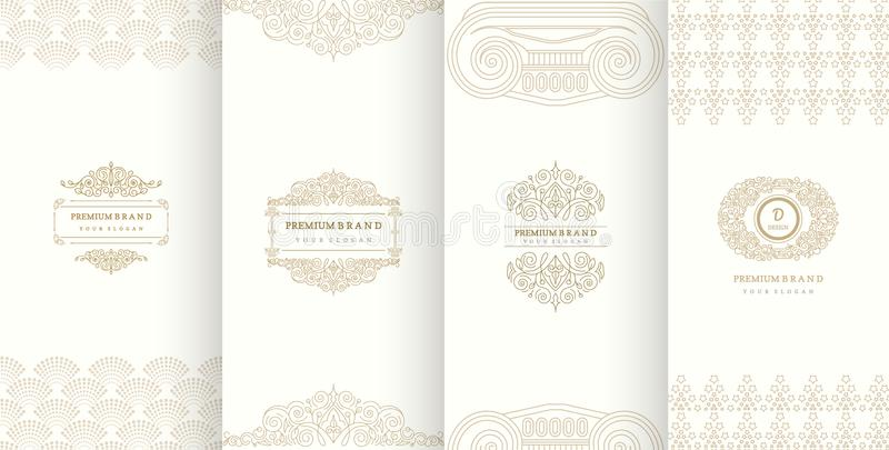 Collection of design elements,labels,icon,frames, for packaging. Design of luxury products.Made with golden foil.Isolated on retro background. vector stock illustration