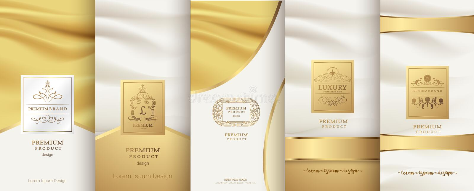 Collection of design elements,labels,icon,frames, for packaging. Design of luxury products.for perfume,soap,wine, lotion. Made with golden foil.Isolated on stock illustration