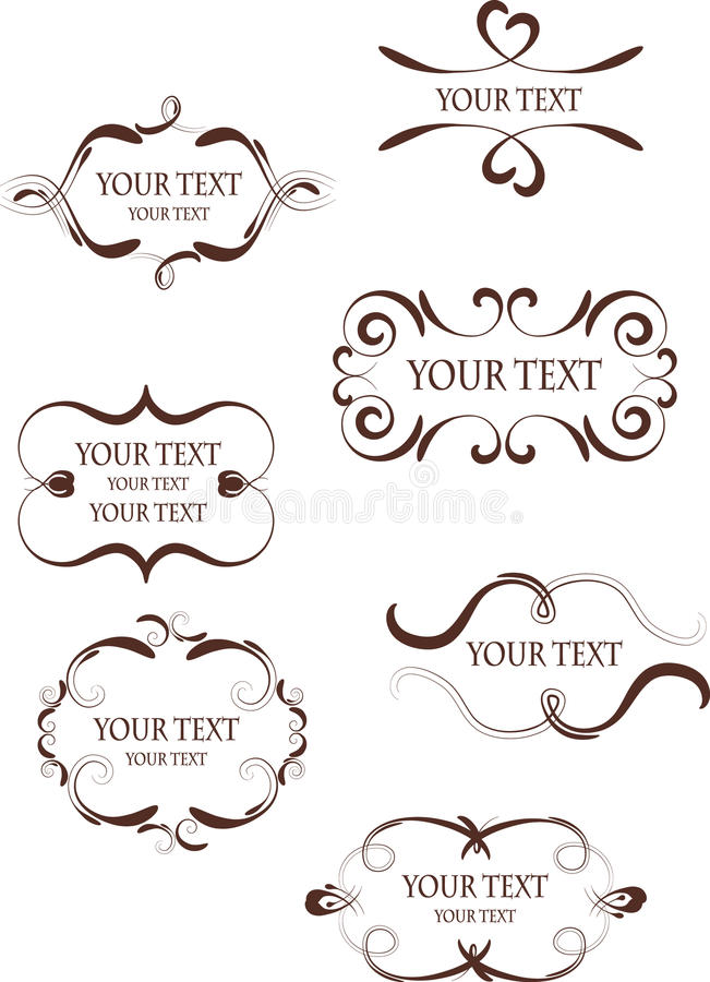 Collection of design retro frames royalty free illustration