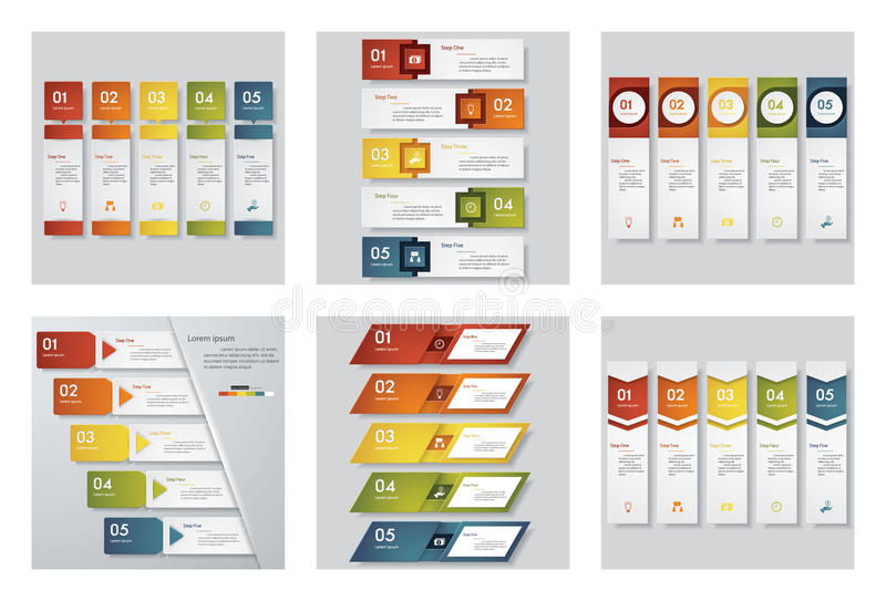 Collection of 6 design template/graphic or website layout. Vector Background. vector illustration