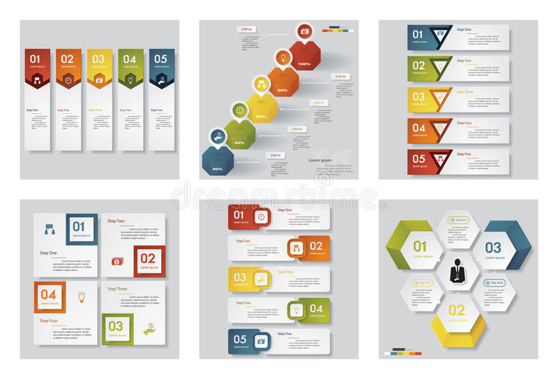 Collection of 6 design template/graphic or website layout. Vector Background. royalty free illustration