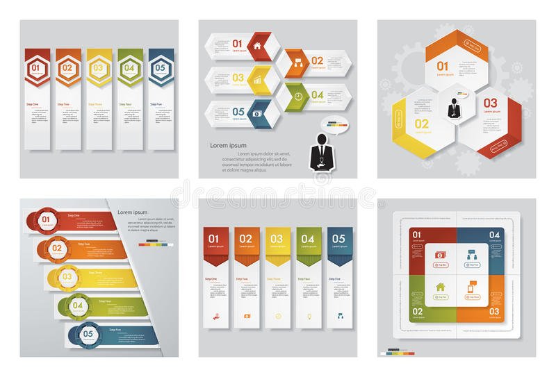 Collection of 6 design template/graphic or website layout. Vector Background. For your idea and presentation stock illustration