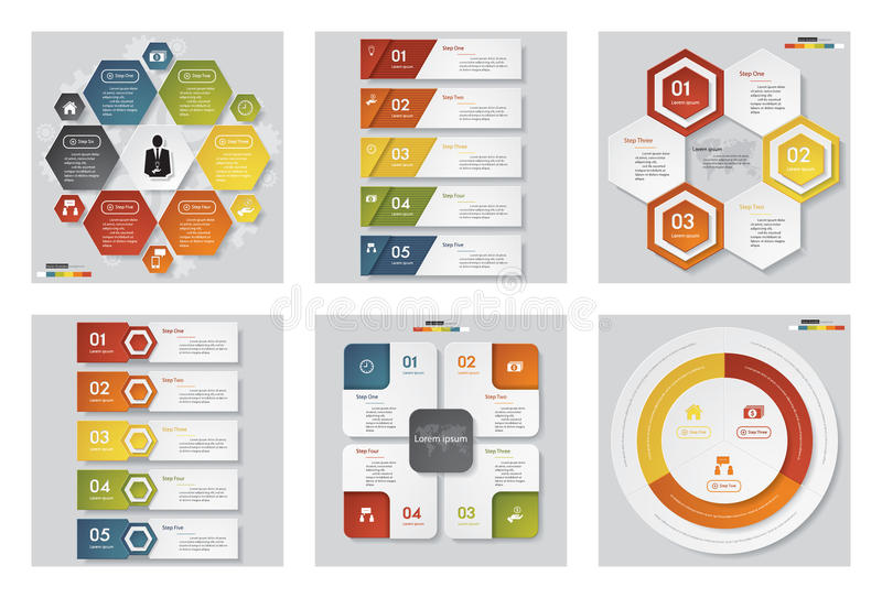 Collection of 6 design template/graphic or website layout. Vector Background. stock illustration