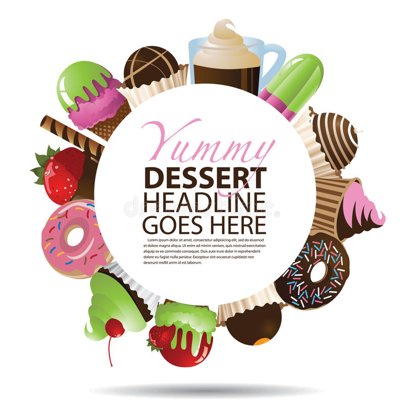 Collection of Desserts Round Background. EPS 10 royalty free illustration