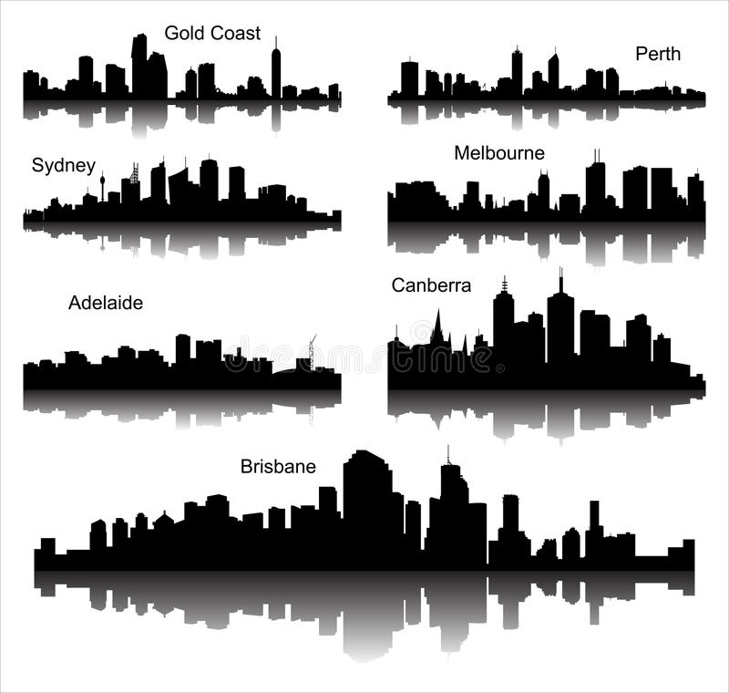 Collection of Detailed vector silhouettes of Australian cities vector illustration