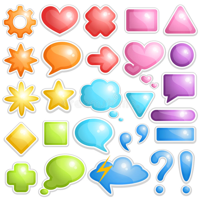 Collection of dialogue bubbles and different sumbo. Vector design set of buttons, speech bubbles and different symbols stock illustration