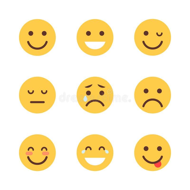 Collection différente d'icône d'émotion de bande dessinée de visage de personnes réglées jaunes d'Emoji illustration libre de droits
