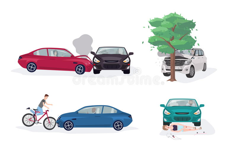 Collection différente de situations d'accident de la route Accident de voiture avec la voiture, l'arbre, la bicyclette et le pati illustration stock