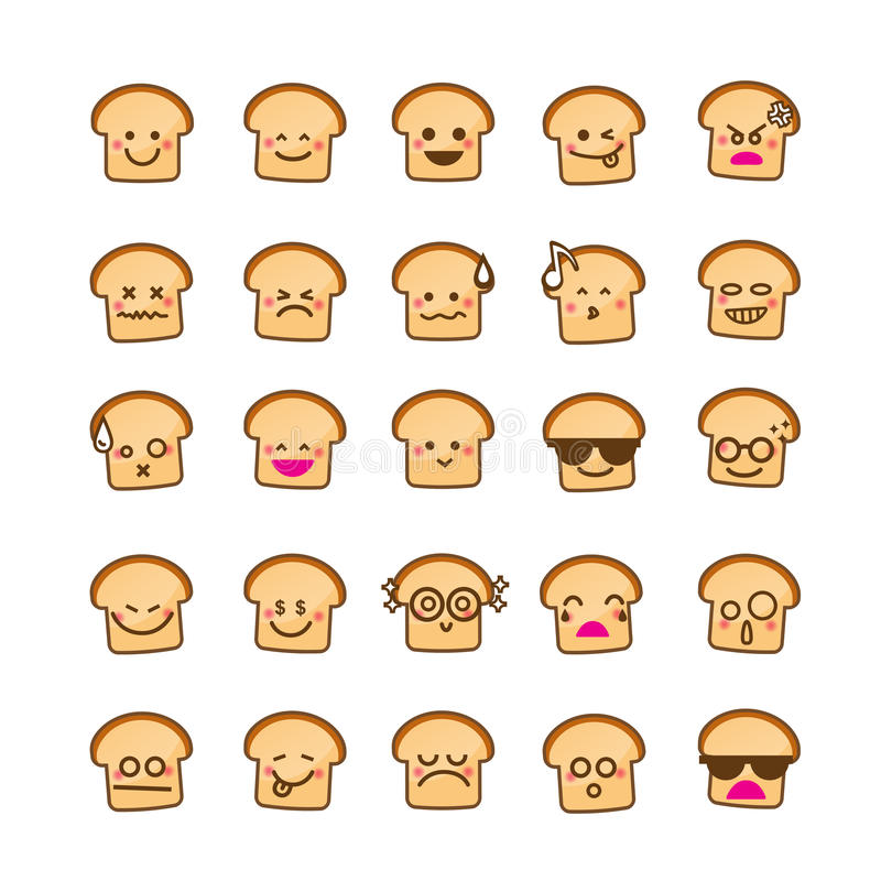 Collection of difference emoticon icon of bread icon on the whit. E background vector illustration stock illustration