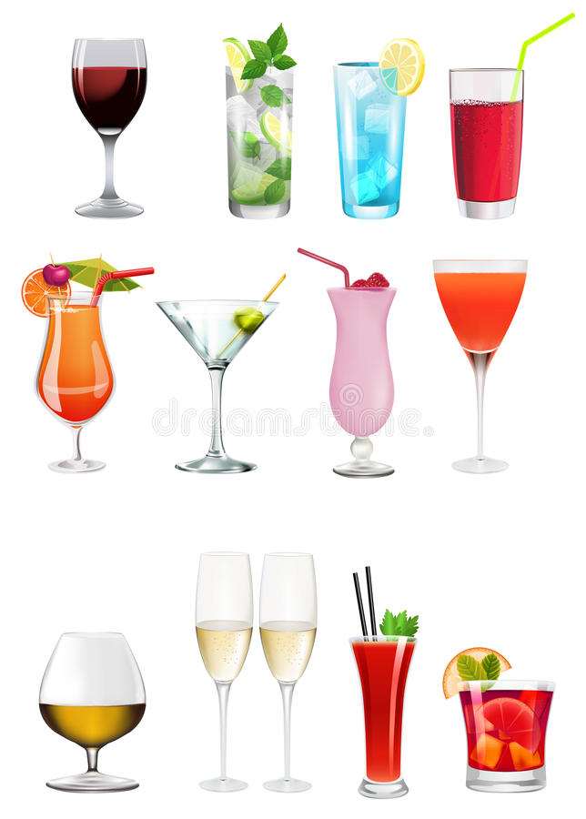 Collection of different alchoolics and soft drinks - Clip art set stock illustration