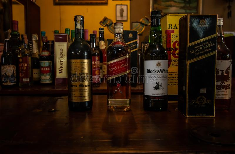 collection different alcohol brandy . stock photos