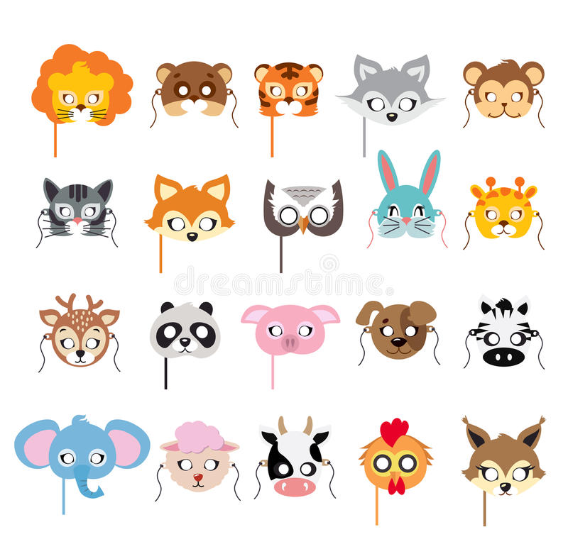 Collection of Different Animal Masks on Faces stock illustration
