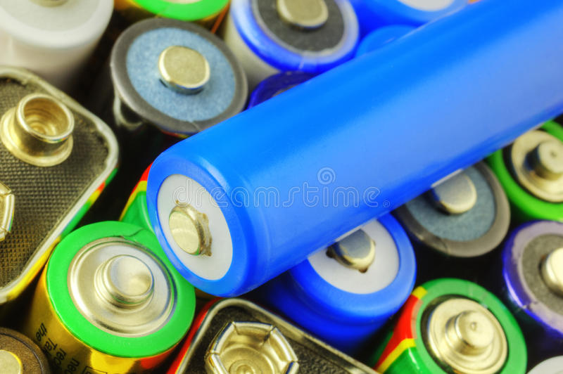 Collection of different batteries royalty free stock photography