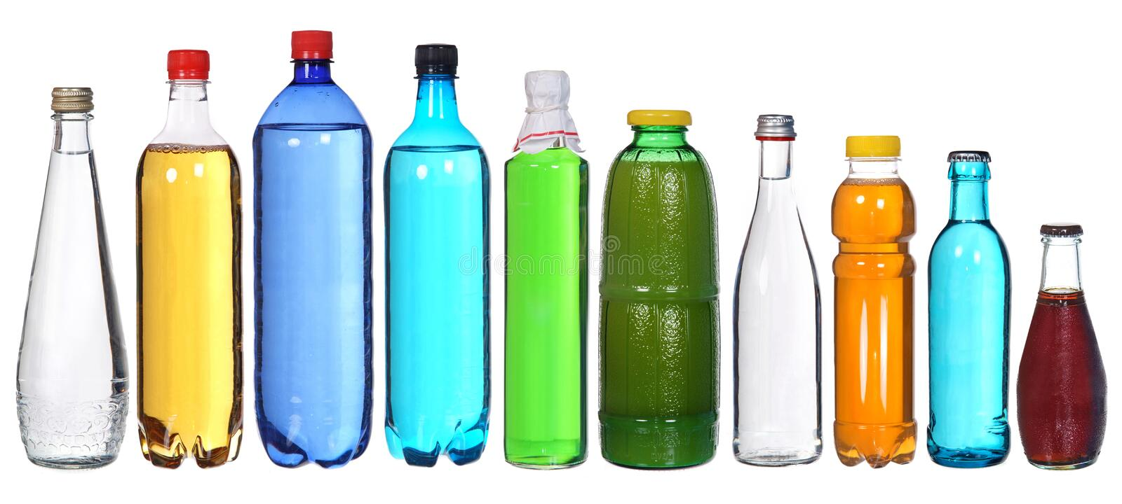 Collection of different bottles. Isolated on white royalty free stock photo