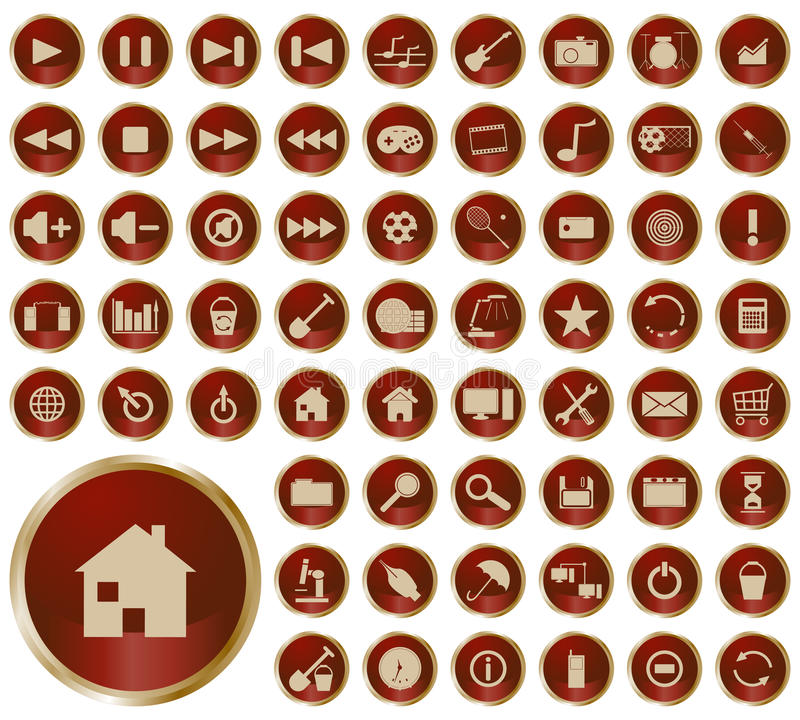 Collection of different buttons stock illustration