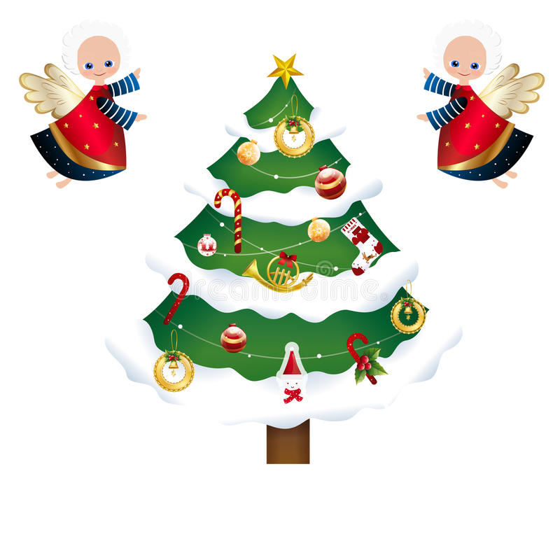 Collection of Different Christmas icons - Christmas tree and Angels royalty free illustration