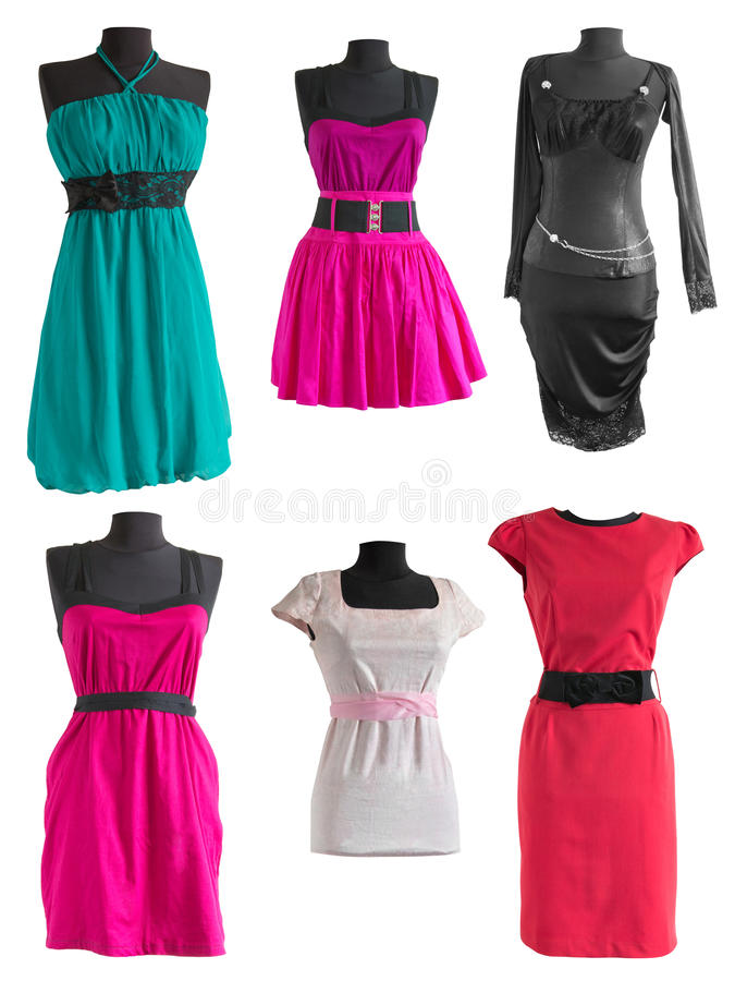 Collection of different colorful dress on a mannequin. On a white background stock image