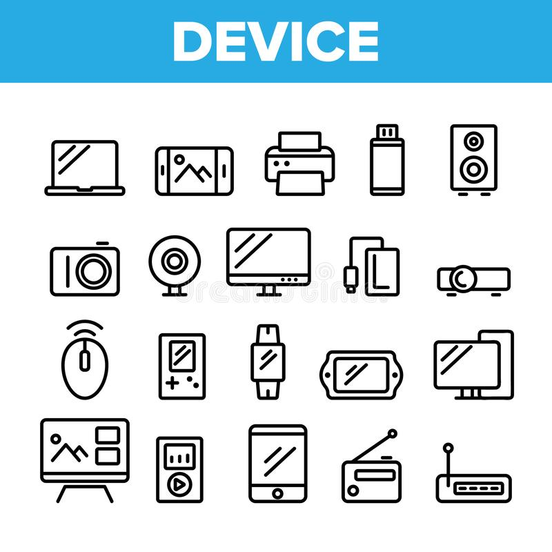 Collection Different Devices Sign Icons Set Vector. Thin Line. Laptop And Computer, Smartphone And Music Dynamic, Tv And Photo Video Camera Devices Linear vector illustration