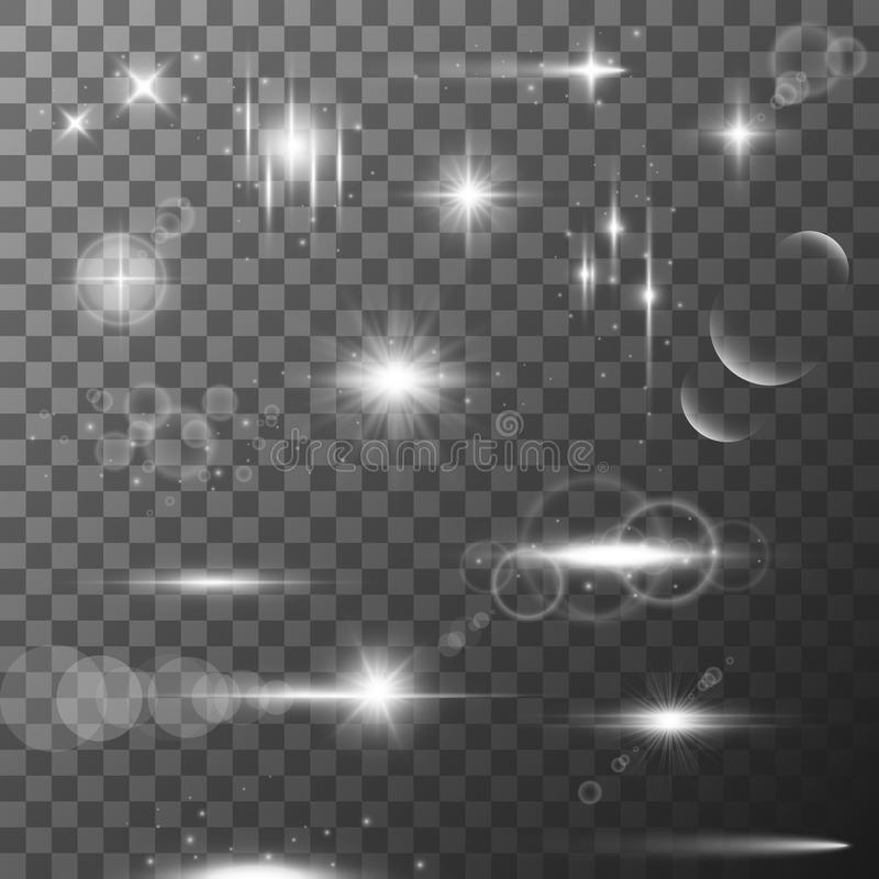 Collection of different flare light effects. Lens flares, rays, stars and sparkles with bokeh collection. Vector. Collection of different bright flare light stock illustration