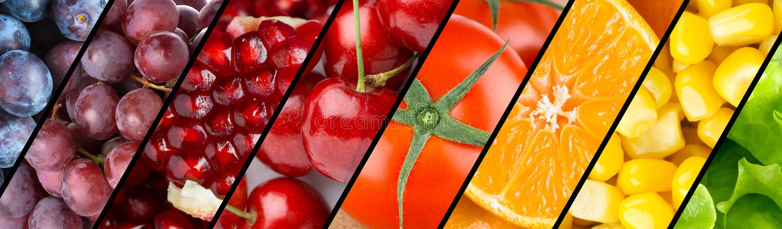 Collection with different fruits, berries and vegetables royalty free stock image