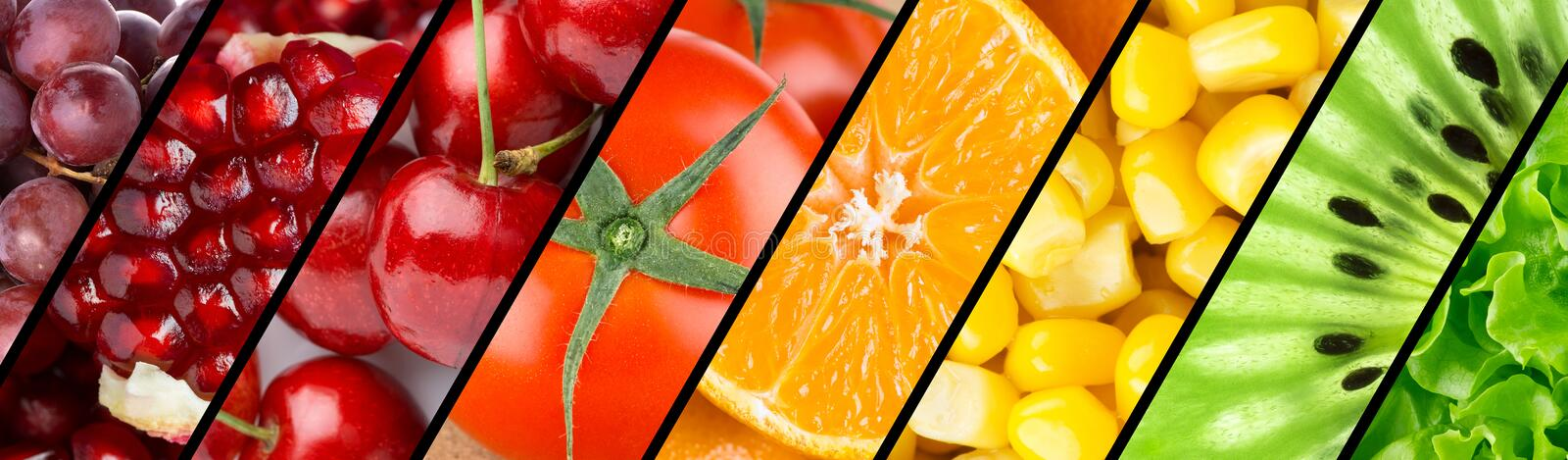 Collection with different fruits, berries and vegetables stock photography