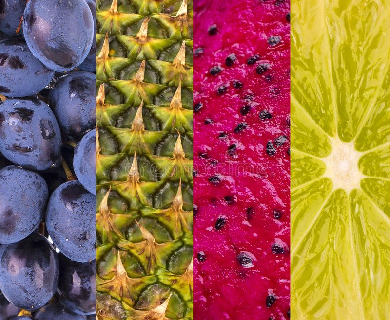 Collection with different fruits, berries and vegetables stock photo