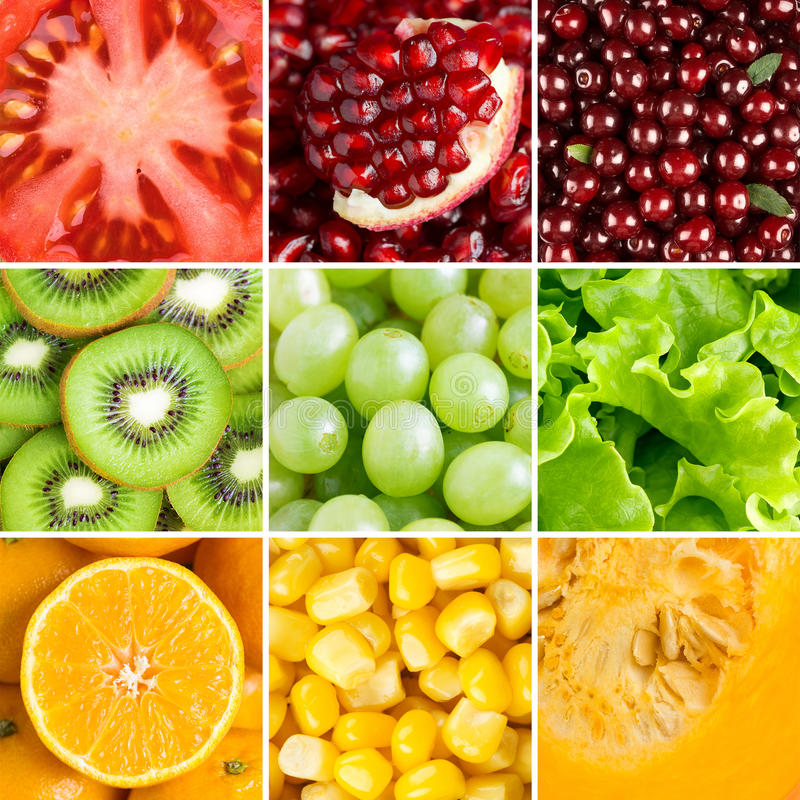 Collection with different fruits, berries and vegetables royalty free stock images