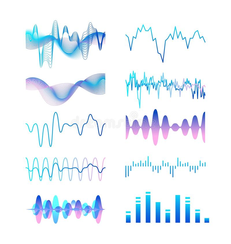 Collection of different gradient colored sound waves, audio or acoustic electronic signals isolated on white background vector illustration