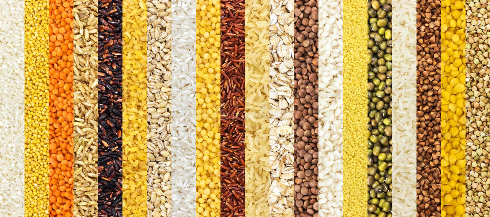 Collection of different groats backgrounds, cereals textures collection. Closeup royalty free stock images