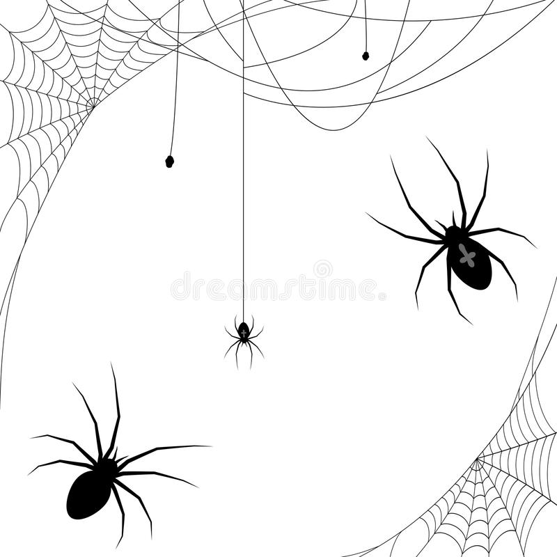 Halloween spider and spider webs. Collection of different illustrated spider webs and some spiders black colored for Halloween layouts stock illustration