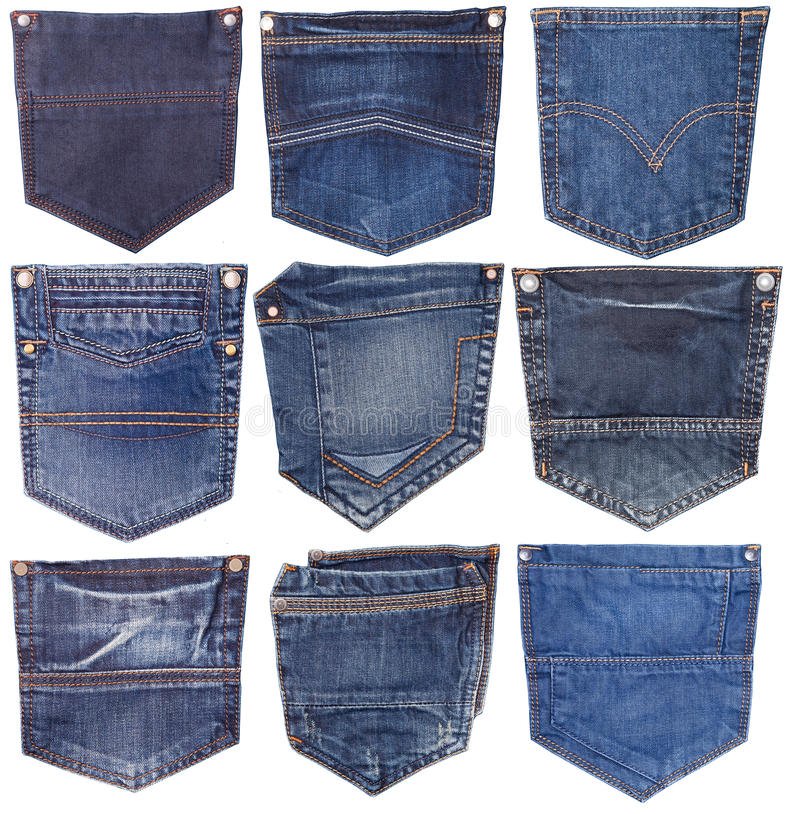 Collection of different jeans pocket isolated on white. royalty free stock image