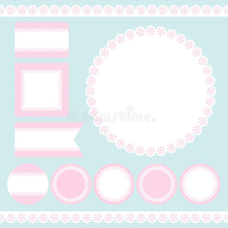 Different Label Flowers And Dots Pink And White vector illustration
