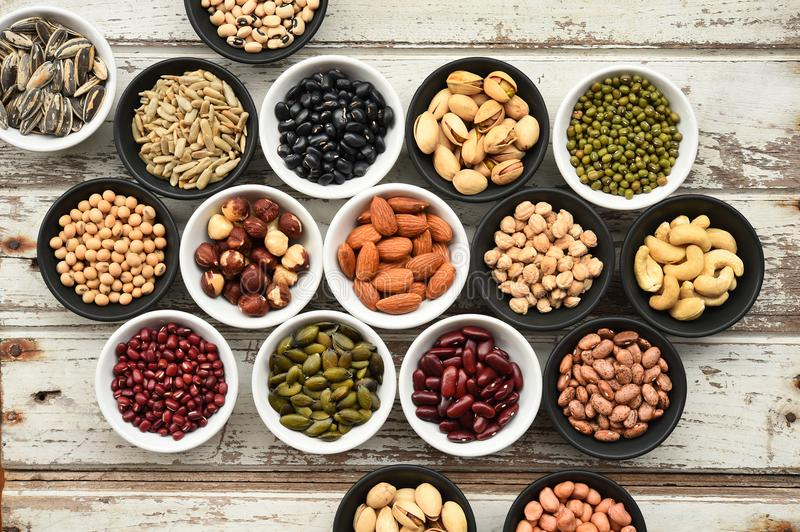 Collection of different legumes stock images