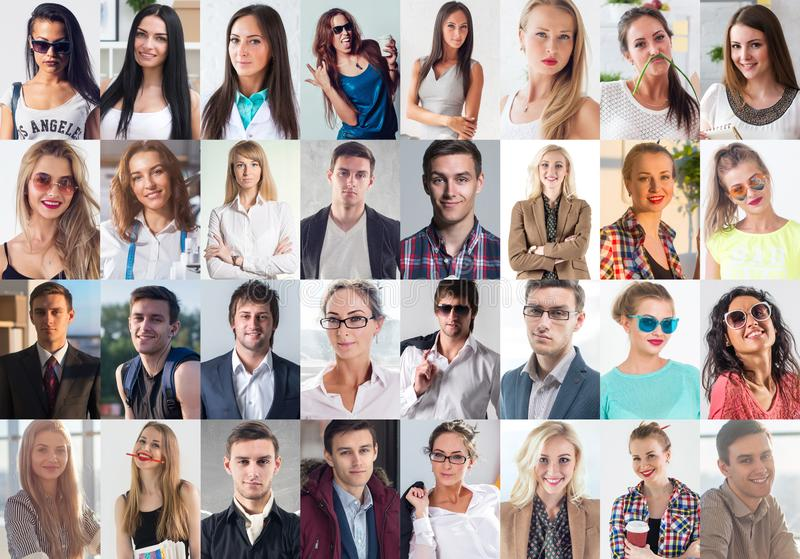 Collection of different many happy smiling young people faces caucasian women and men. Concept business, avatar. Collection of different many happy smiling royalty free stock images