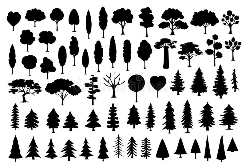 Collection of different park, forest, conifer cartoon trees silhouettes in black color stock illustration