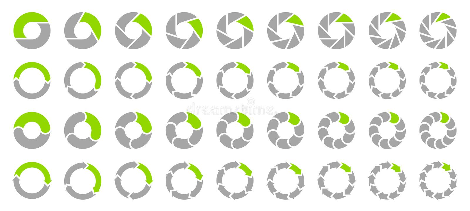 Set Pie Charts Arrows Gray And Green stock illustration