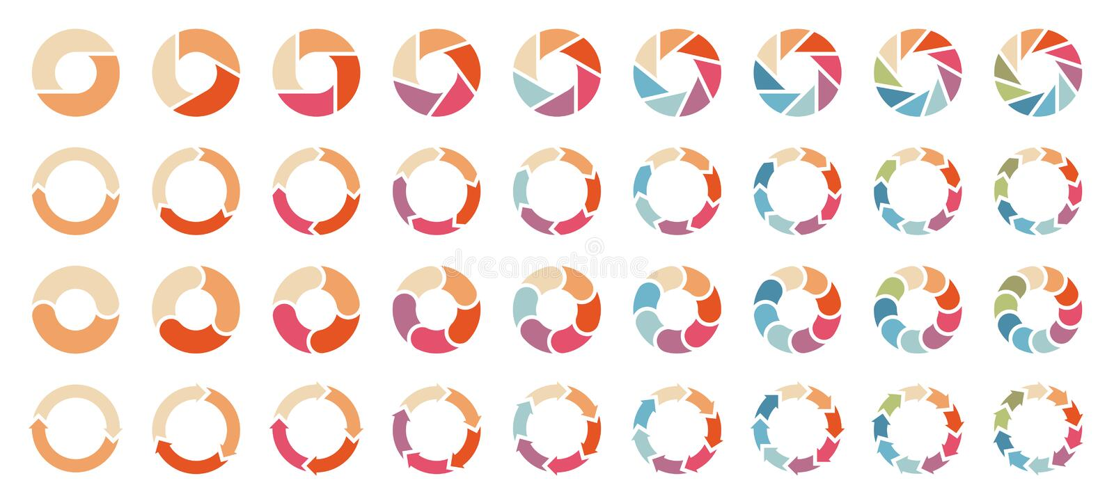 Set Of Different Pie Charts With Arrows Retro Colors royalty free illustration