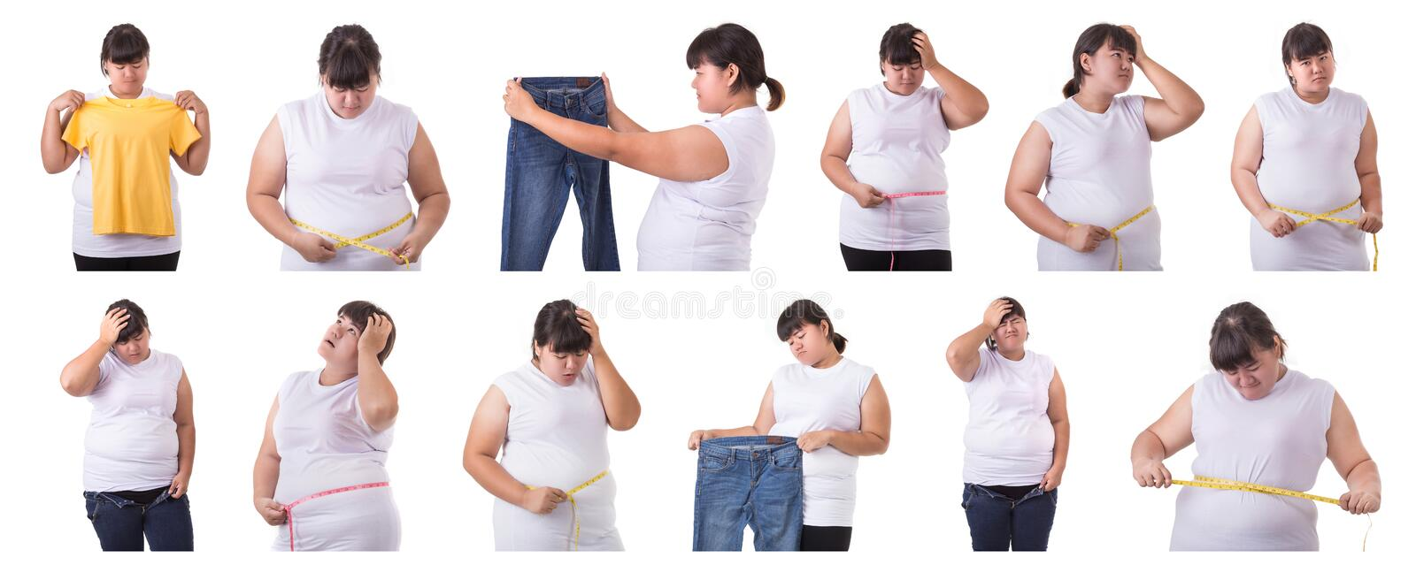 Collection different portrait of fat asian woman isolated on white. Obesity and health care concept. Collection different portrait of fat asian woman isolated on royalty free stock photos
