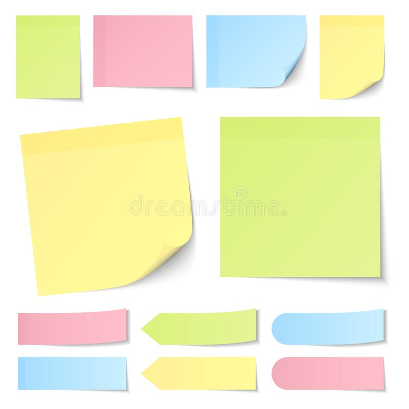 Set Of Different Sticky Notes Pastel Yellow Green Blue And Pink. Collection Of Different Sticky Notes Pastel Yellow Green Blue And Pink vector illustration