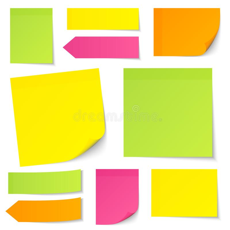 Set Of Different Sticky Notes Yellow Green Pink Orange royalty free illustration