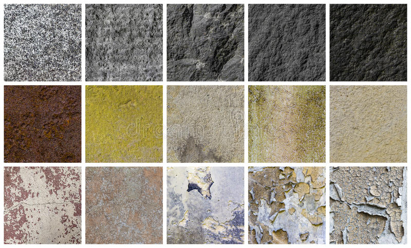 Collection of different stone and wall backgrounds. Isolated on white stock images