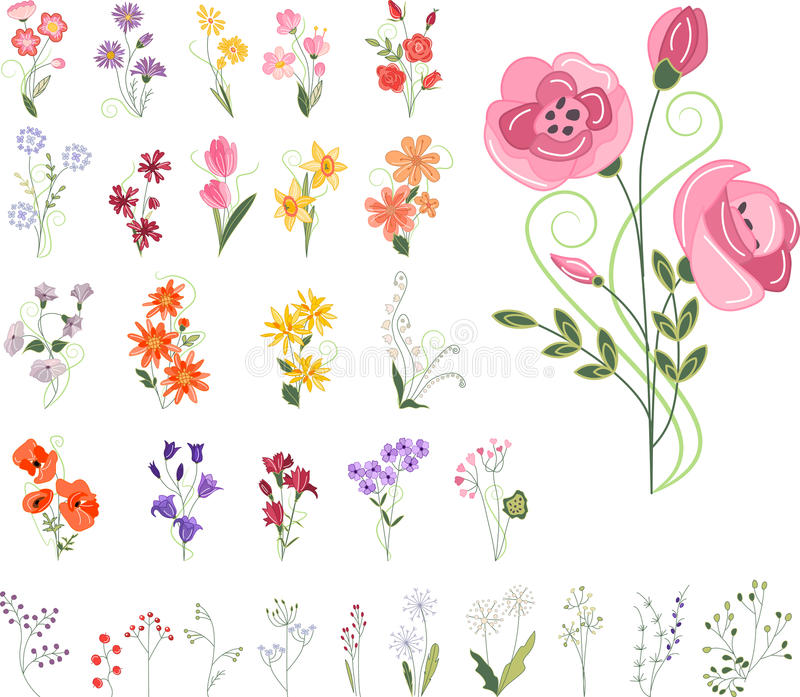 Collection of different stylized flowers royalty free illustration