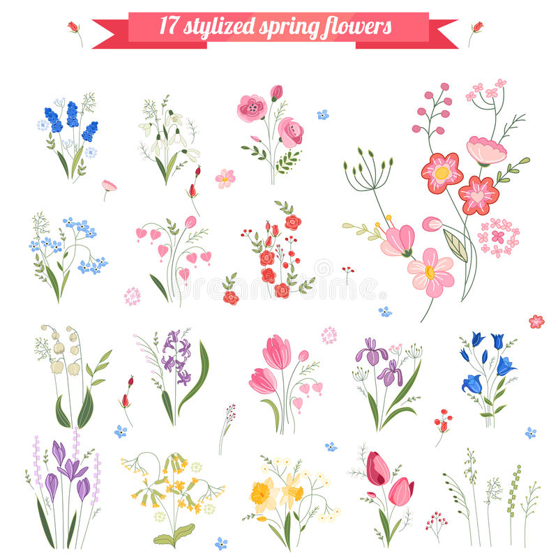 Collection of different stylized spring flowers. royalty free illustration