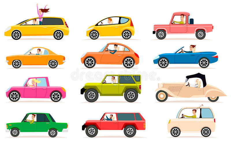 Collection of Different Types of Automobile Cabine royalty free illustration