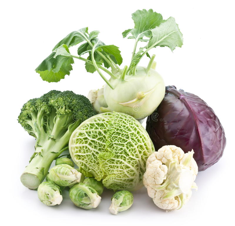 Collection of different varieties of cabbage. On a white background royalty free stock photo